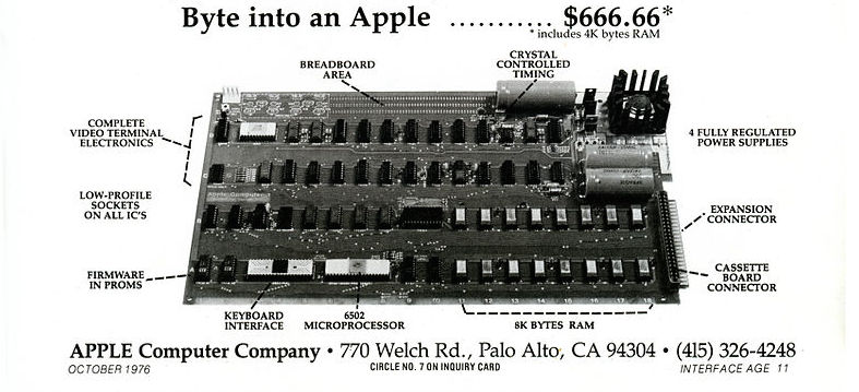 Annonce de l'Apple 1 en octobre 1976 (Wikimedia commons)